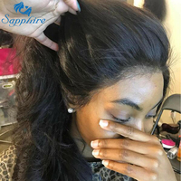 Sapphire Lace Front Human Hair Wigs Brazilian 360 Lace Frontal Wig Full Lace Human Hair Wigs Straight Wig 8 26 With Baby Hair