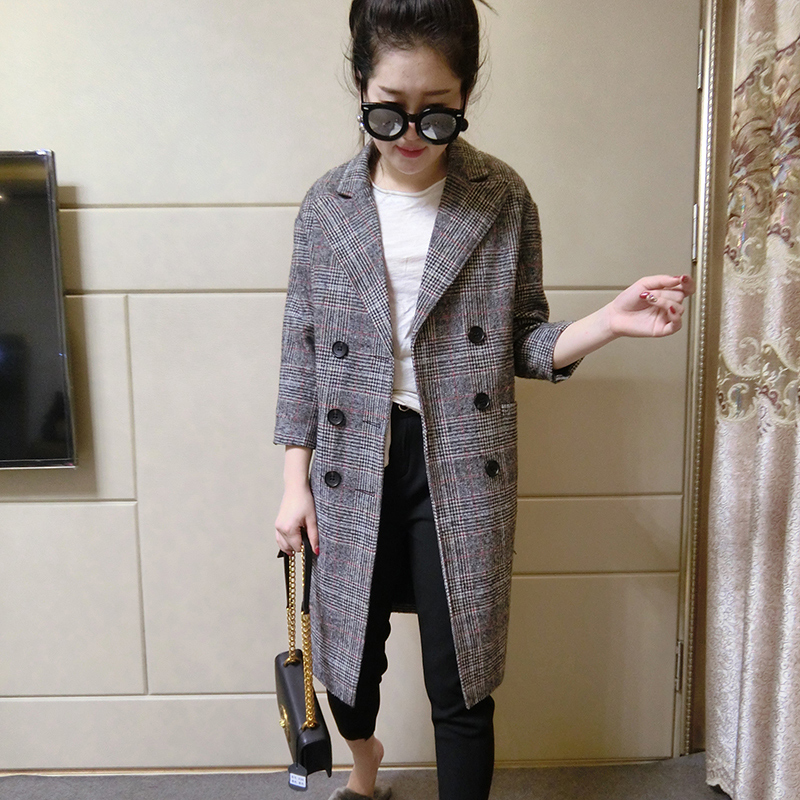 Version Long Longue Femmes Automne Sleeve Manteaux Printemps Quarter Breasted Bureau Double Plaid Sleeve Dames Veste three Blazer Femelle Mode xwfRXq6nY