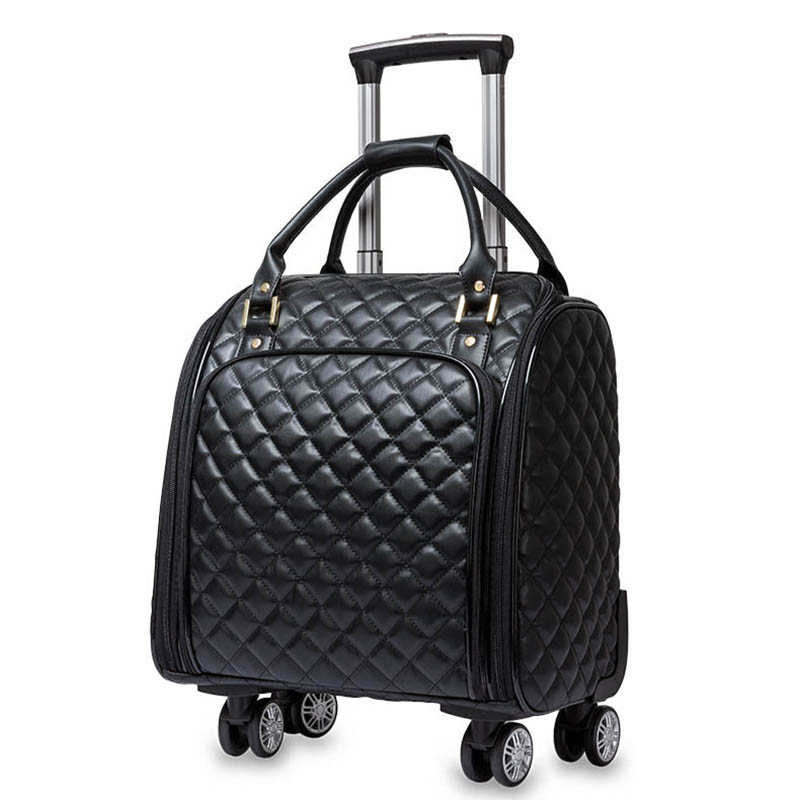 LeTrend Korean Hand PU Leather Rolling Luggage Spinner High capacity Trolley High grade 16 inch Suitcase