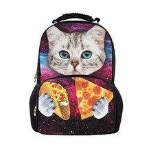 FORUDESIGNS Cute Cat Печать Женщины Рюкзаки 3D Животных Большой Ноутбук Bagpacks Supercolor Galaxy Вселенная Космос Рюкзак Путешествия