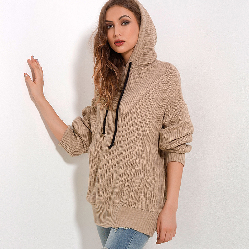 Autumn Winter Hooded Sweater Knitted Clothing 2018 Fashion Drawstring Slim Long Pullover Female Solid Women Sweaters