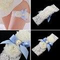 Ligas de la boda azul perla Bowknot blanco de encaje boda liga conjunto de perlas nupcial de la pierna ligas correa del cordón de la novia de la boda decoración atrezzo