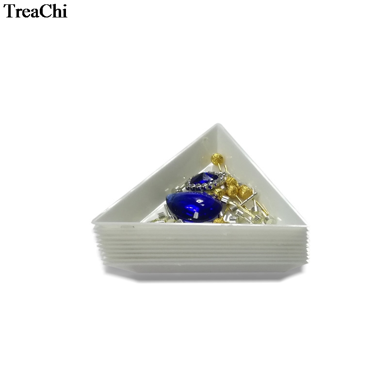 10Pcs White Mini Plastic Triangle Sorting Tray Gemstone Collection Storage Case Bead Crystal Nail Cosmetic Art Tool Tray7*2.5 Cm