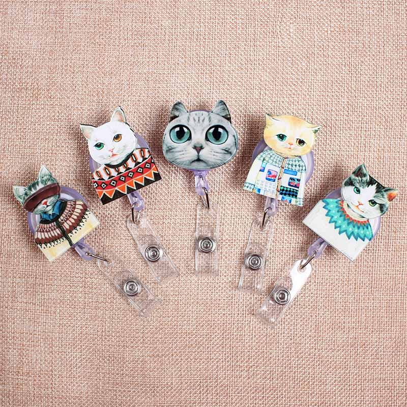 Plastic Little Cute Cat Retractable Creative Badge Reel Student Nurse Exhibition Women Name Cards Chest Enfermera Id Card Holder