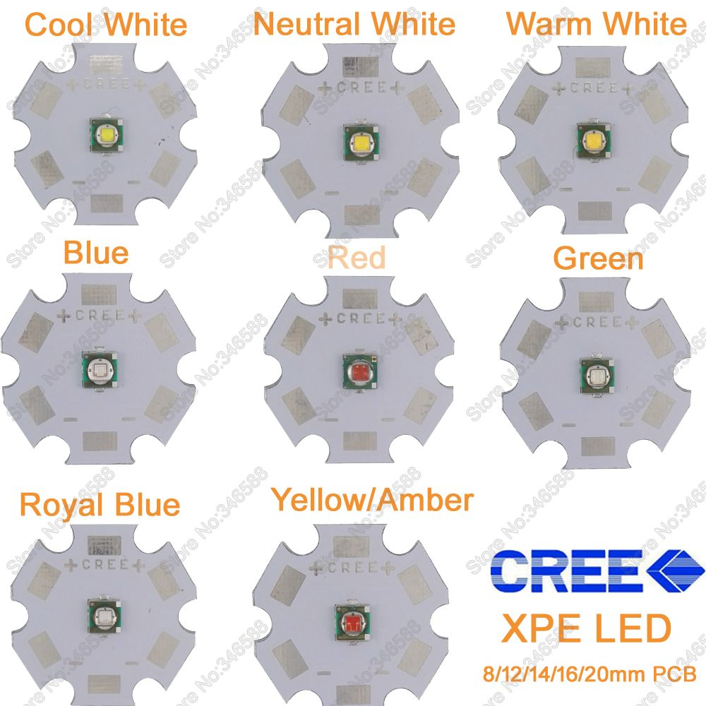 5x 3W Cree XPE XP-E High Power LED Emitter Diode,Neutral White Cool White Warm White Red Green Blue Royal Blue Yellow With PCB