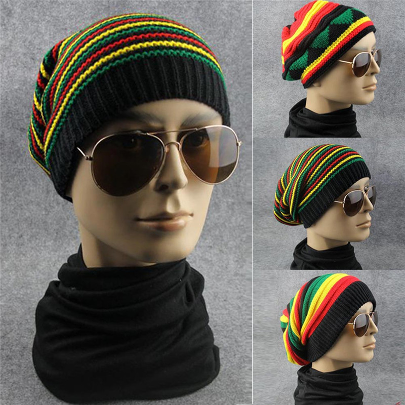 все цены на  Unisex 2016 Winter Hat Hip Hop Bob Jamaican Cap Beanies Baggy Knitted Hats Striped Men Women Hat Bonnet Punk Style  онлайн