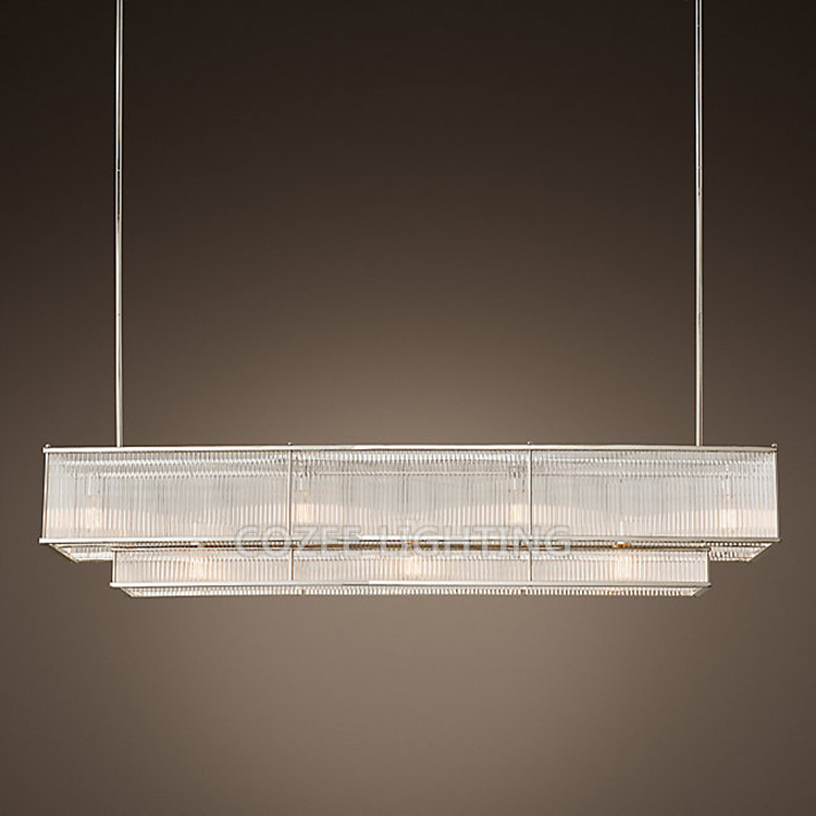 Lustres en verre rectangulaires modernes de tige LED allumant la lumière accrochante de lustre linéaire Vintage pour la décoration de salle à manger de salon