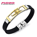 MOZO FASHION Men Charm Bracelet Scorpion Design Stainless Steel Silicone Rubber Wristband Bracelets Trendy Mens Jewelry MPH1085