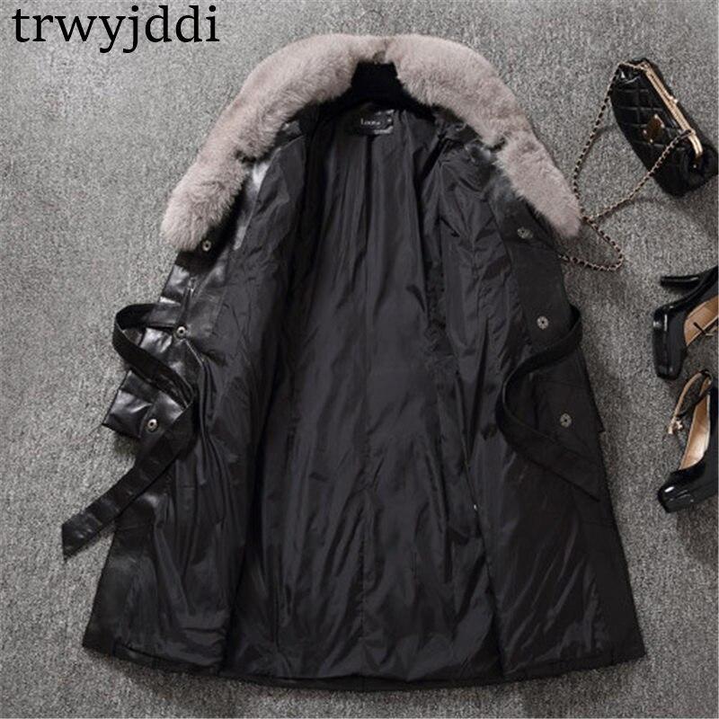 Más Grande Invierno Black Piel Parka Outwear Gamuza Cuello 2018 Chaqueta Zorro Abrigo A1204 Con Negro De Largo Moda Abajo Cuero Tamaño WS8ncBAZ