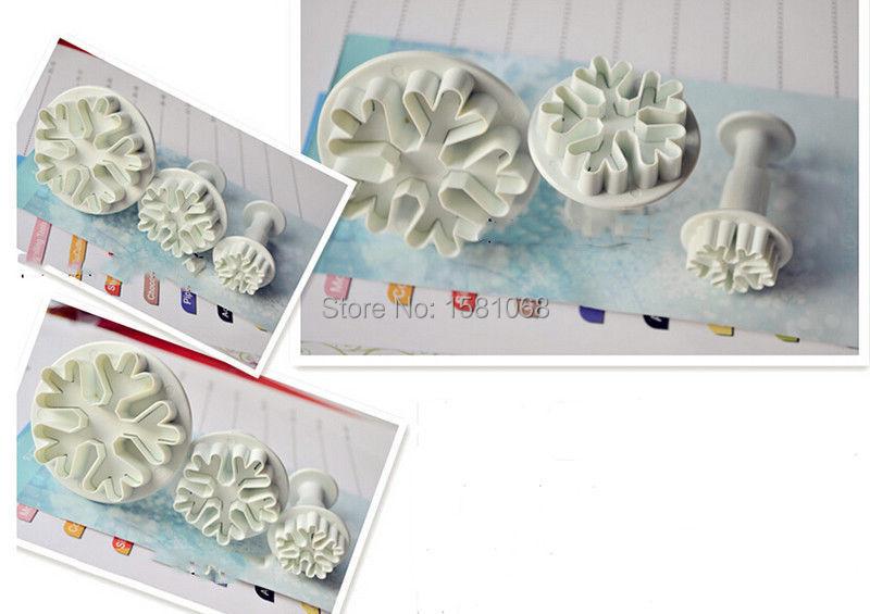 New 3Pcs/Set Snowflake Fondant Cake Decorating Tools
