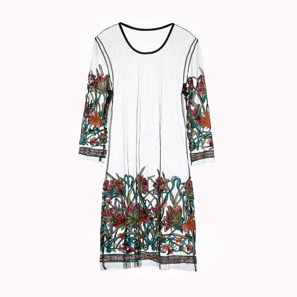 Сексуальное женское платье с цветочной вышивкой, легкий Сетчатое летнее женское платье Бохо мини-платье Прозрачные Черное Платье для вечеринки 2019 Vestidos