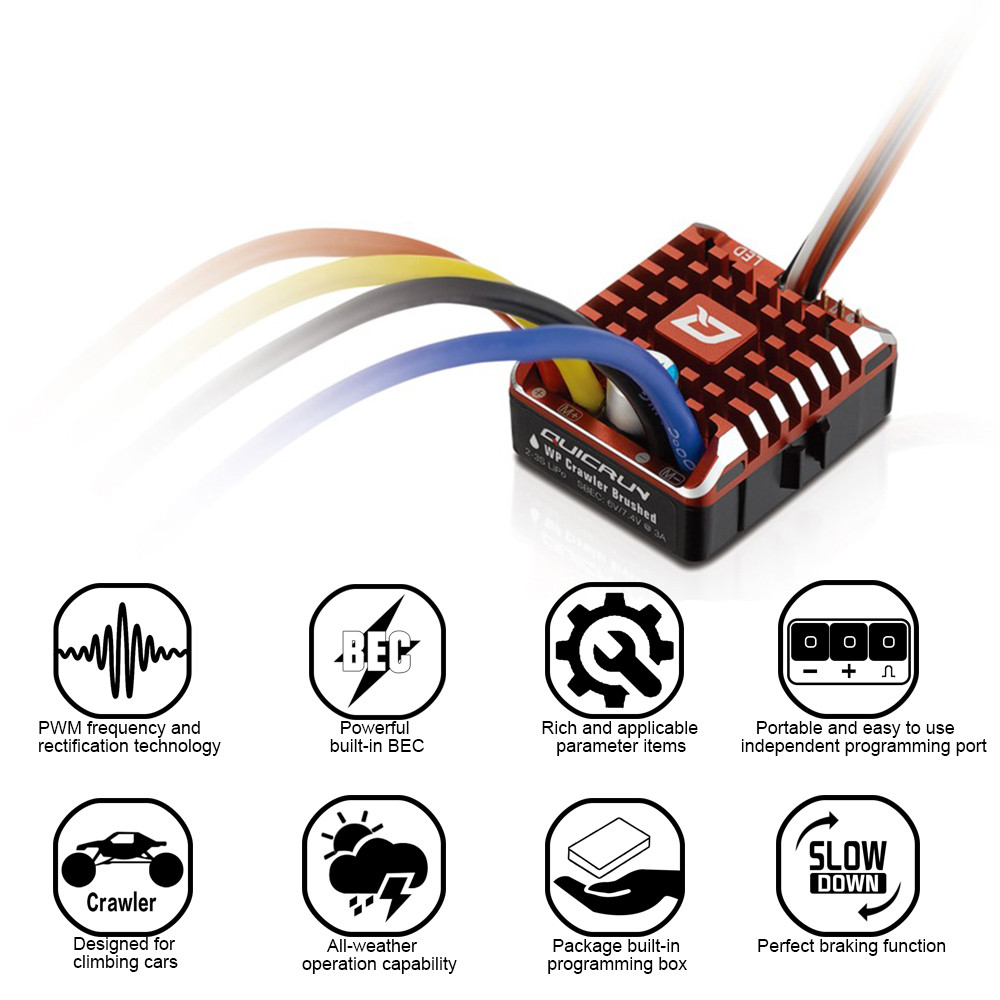 Hobbywing QuicRun 1080 Waterproof Brushed 80A ESC + Program Card For Crawler Children Kids Toys Brushed ESC RC Car Parts image