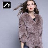 2016 женское короткое пальто из цельной кожи с лисьим мехом, утолщенное тонкое пальто с мехом лисы, зимние женские