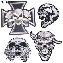 ZOTOONE Skull Punk Patches Embroidery Patch for Clothing Diy Stickers on Clothes Decorations Iron Appliques Rock Band E