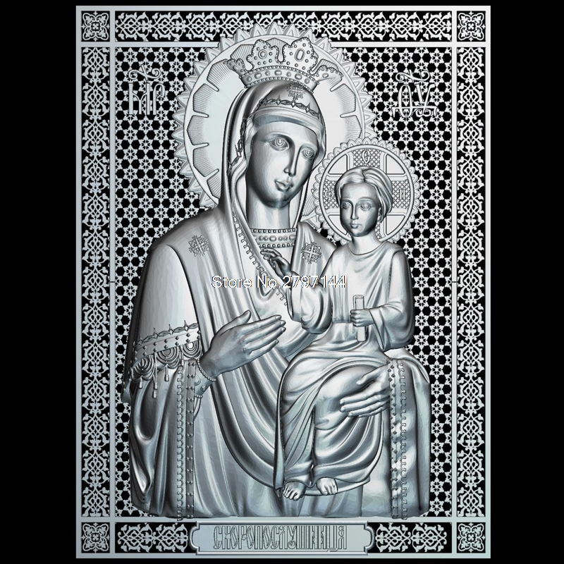 Mother of God Icon Skoroposlushnitsa 3D model relief figure STL format Religion 3d model relief  for cnc in STL file format cnc panno face 1 in stl file format 3d model relief for