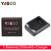 Free Shipping Action Cam AccessoriesYagoo 4K Battery 1PC 1350mAh Battery 1 Charger Dock For Sj4000 Sj5000
