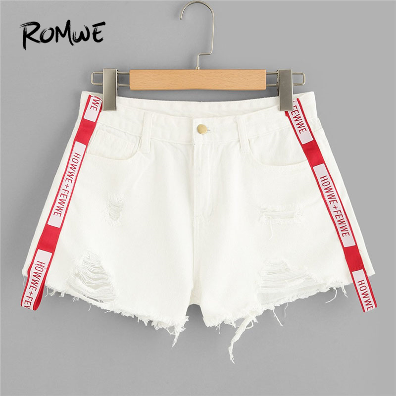 ROMWE Letter Tape Raw Hem Denim Shorts 2018 Summer Mid Waist Button Fly Women Clothes White Zipper Fly Casual Shorts