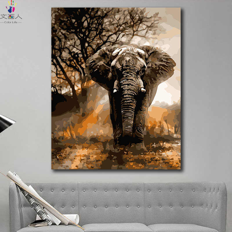 DIY colorings pictures by numbers with colors Forest king elephant animal picture drawing painting by numbers framed home
