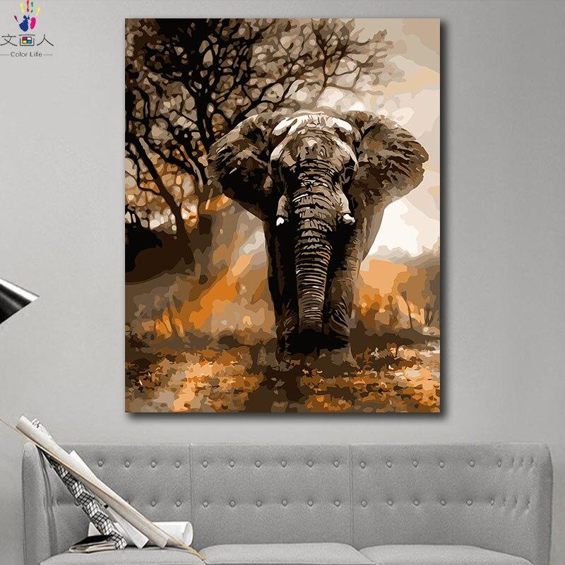DIY красителей фотографии по номерам с цветами лесной царь слон изображением животного Рисунок Живопись по номерам каркасный дом