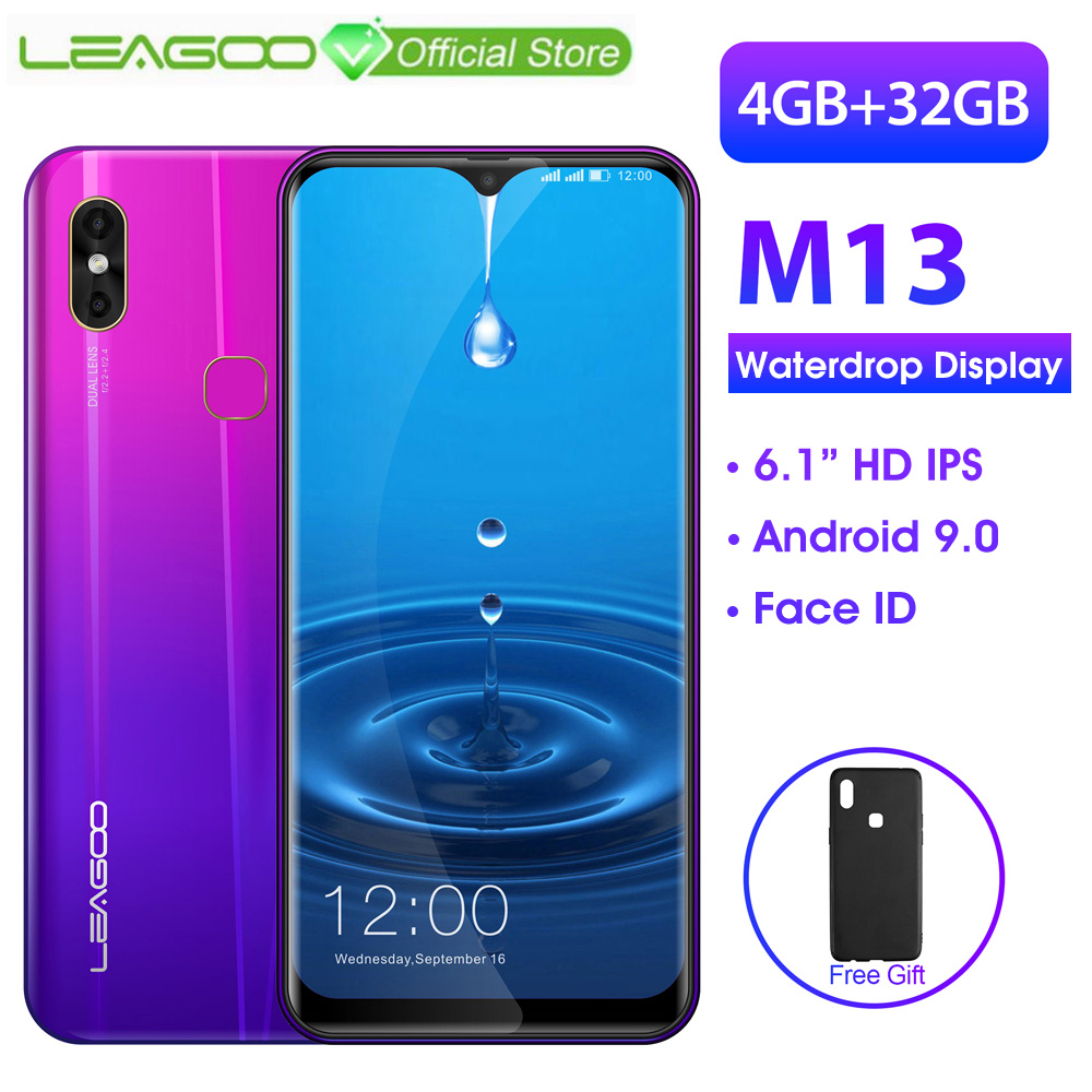 LEAGOO M13  Android 9.0 Smartphone 6.1 HD  IPS Waterdrop Display 4GB RAM 32GB ROM MT6761 3000mAh Dual Cams 4G Mobile Phone-in Cellphones from Cellphones & Telecommunications