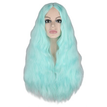 QQXCAIW Women Long Curly Wigs Blue Green Red Middle Part Heat Resistant Hair Synthetic Party Cosplay Wig
