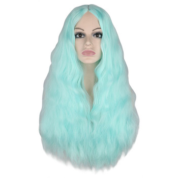 цена на QQXCAIW Women Long Curly Wigs Blue Green Red Middle Part Heat Resistant Hair Synthetic Party Cosplay Wig