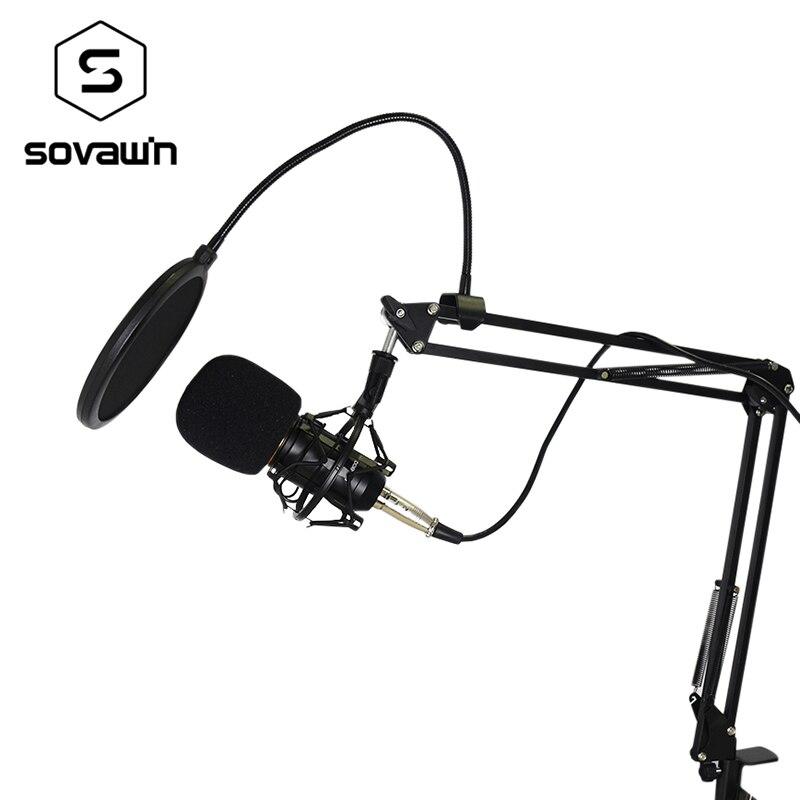 Metal Capacitivo Computador KTV Profissional Microfone BM 800 PC 3.5mm Condensador De Estúdio de Áudio Vocal Gravação Karaoke Mic Stand