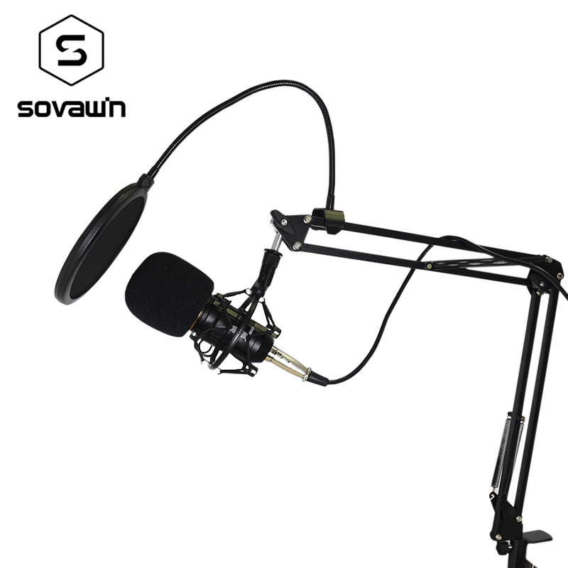 Metal Computer Capacitive Professional KTV Microphone BM 800 PC 3.5mm Condenser Audio Studio Vocal Recording Mic Karaoke Stand heat live broadcast sound card professional bm 700 condenser mic with webcam package karaoke microphone