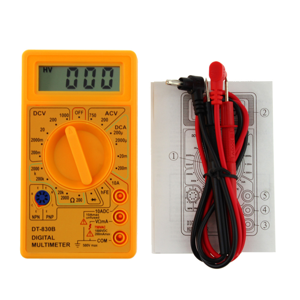 "Tester elettronico DT-830B Multimetro elettronico 0,5 ""Display LCD AC / DC 750 / 1000V Amp Volt Ohm Tester Tester"