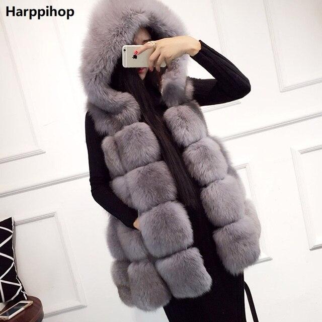 75dfc90ffeda1 Harppihop damski nowy Kaptur futra Lisa kamizelki ciepłe damskie zimowe  darmowa wysyłka duży rozmiar prawdziwe futro