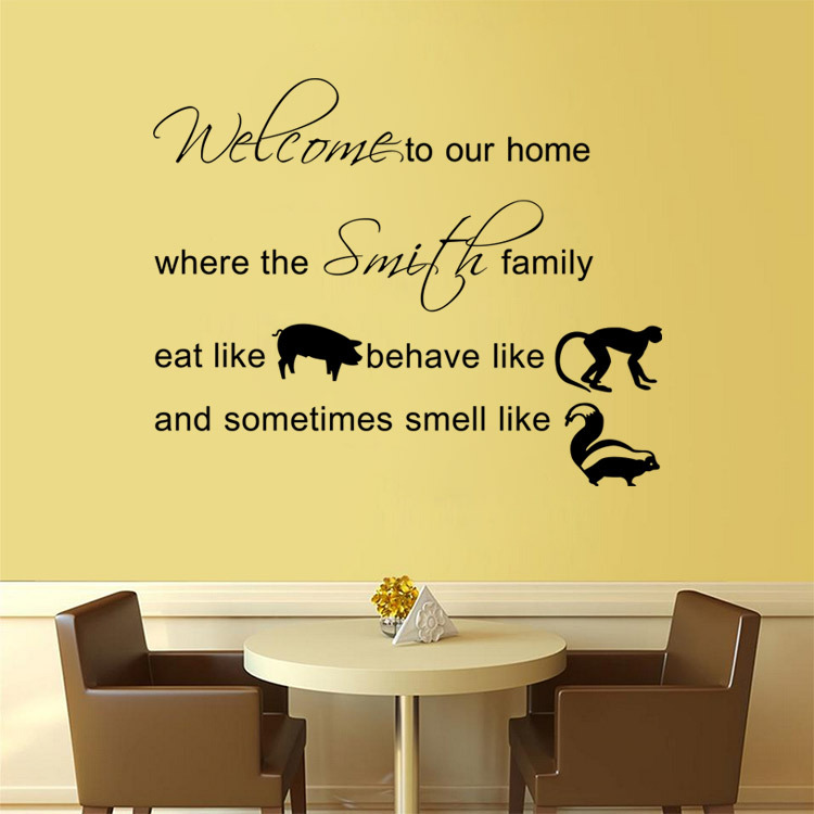 Aw9375 welcome to our English home \'family decorative wall sticker ...