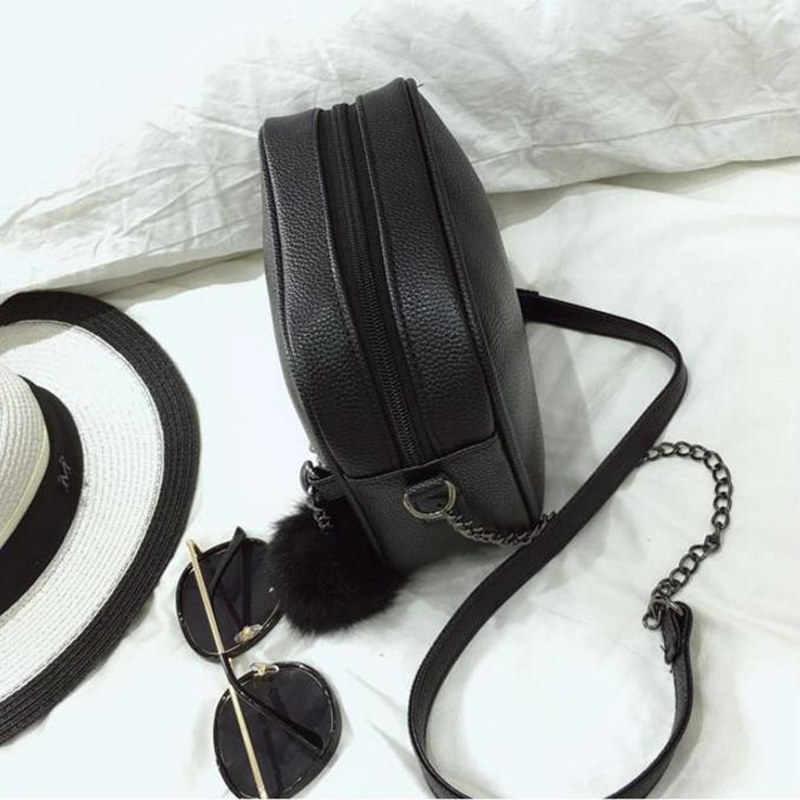 נשים שליח תיק שרשרות עור מפוצל כתף תיק בציר קטן מיני דש תיק פרווה כדור דקור Bolsas Crossbody תיקים