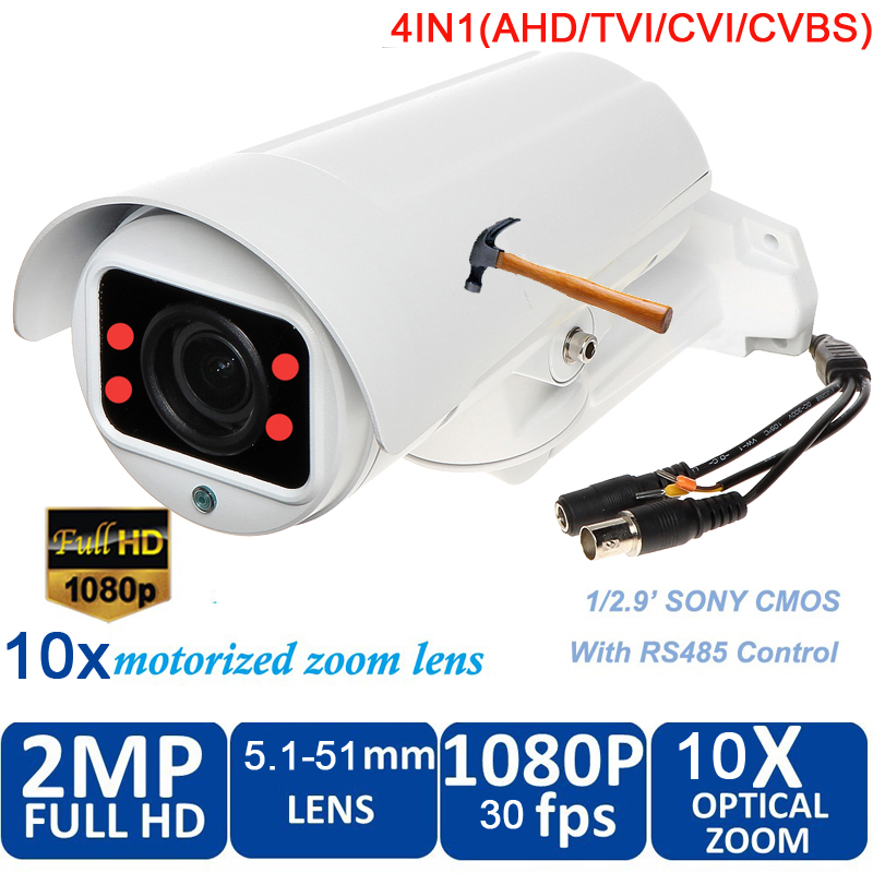 waterproof 1080P 2.0 Megapixel HD AHD CVI TVI Analog 4 in 1 Smart Mini Bullet Camera with 10x zoom 50m night vision freeship - 2