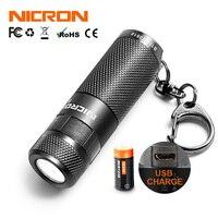 NICRON Mini LED Taschenlampe Schlüsselanhänger 3 Watt USB Wiederaufladbare Compact Lampe Taschenlampe Wasserdicht 3 Modi Für Haushalt Außen etc