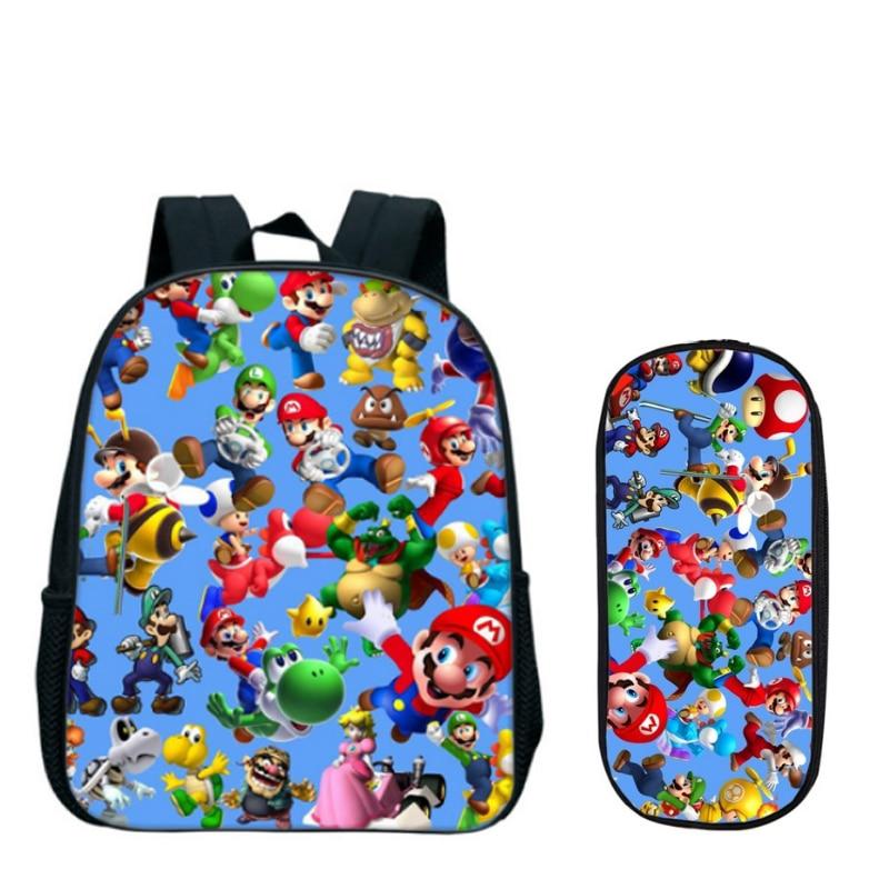 13 Zoll Cartoon Super Mario Bros Sonic Kinder Rucksack Kindergarten Tasche Kinder Rucksack Mädchen Jungen Mochila Bleistift Tasche Set Guter Geschmack