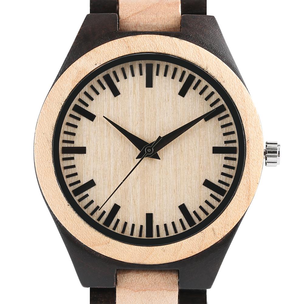 2017 Analog Men's Watch Full Natural Bamboo Wood Watches Male Business Elegant Minimalist Dial Quartz Wristwatch erkek kol saati