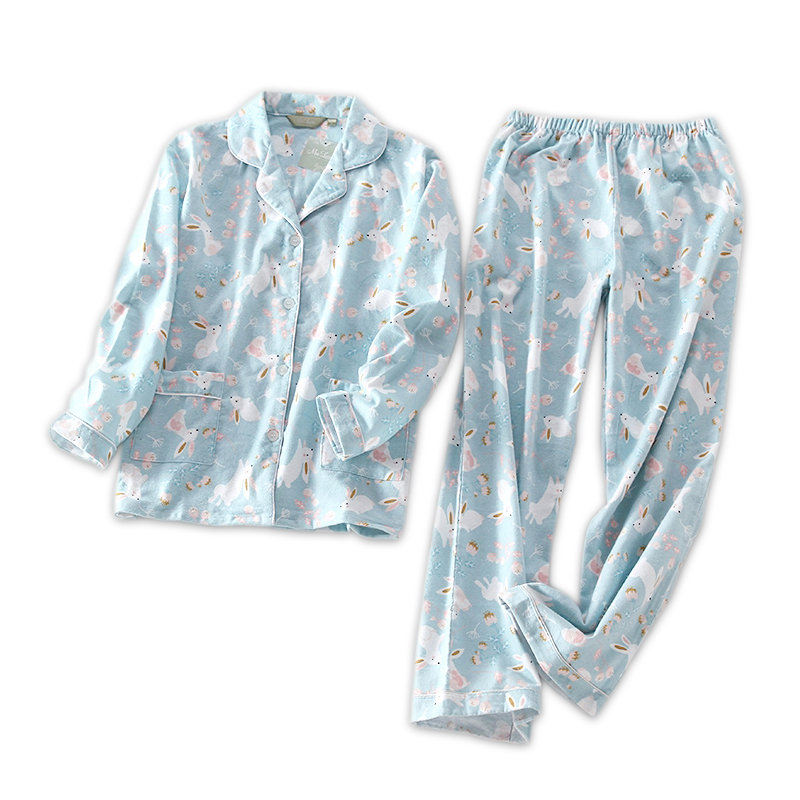 Cute rabbit 100% cotton women   pajama     sets   Autumn long sleeve plus size homewear women pyjama   set   pijama mujer invierno
