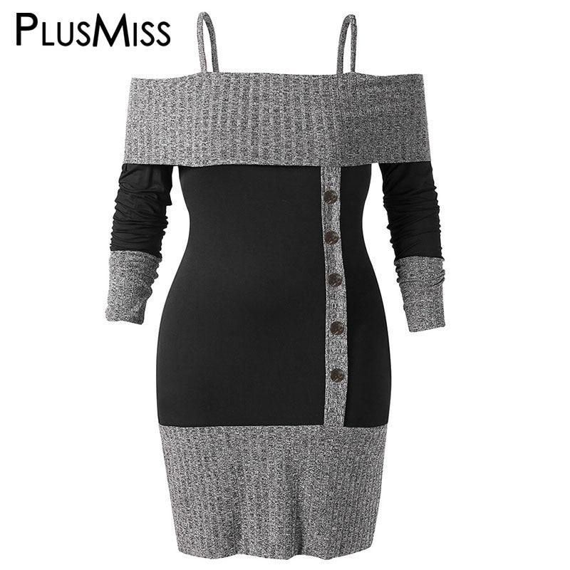 e987d110ff PlusMiss Plus Size 5XL Sexy Off Shoulder Knitted Mini Short Dress Women Big  Size Bodycon Sweater