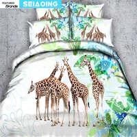 3d zürafa yatak örtüleri kral kraliçe tam tek boyutu doğa manzaralı nevresim 3/4 adet yastık yetişkin yatak seti dokuma çarşafları boy