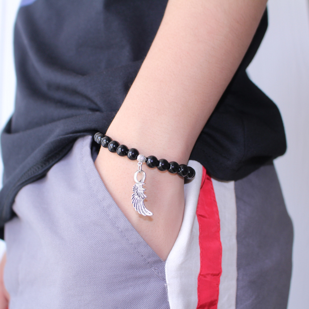 Vintage Feather Wing Men Women 8mm Obsidian Boys Girls Bracelets Couple Lovers Jewelry
