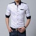Мужская приталенная рубашка с длинным рукавом из хлопка с пестрым принтом, цвет черный/белый, есть большие размеры