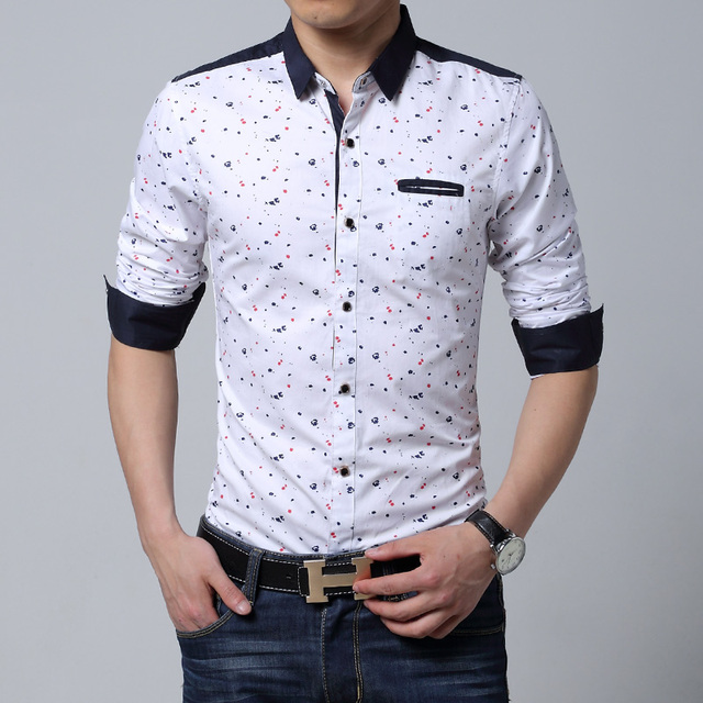 Men long sleeve shirt casual slim fit cotton printed male for Mens dress shirt sleeve length