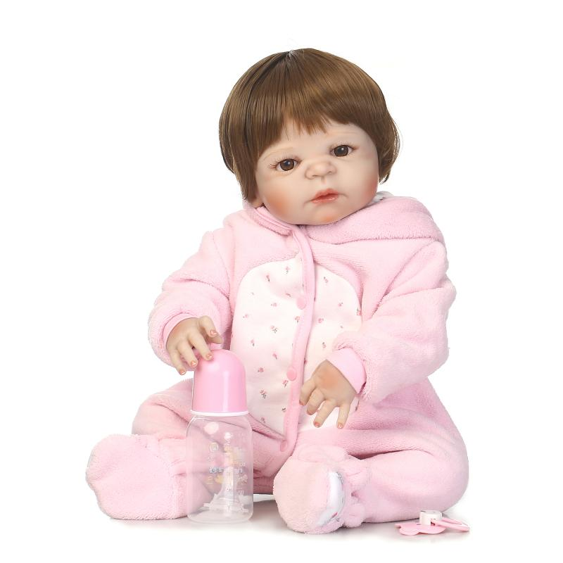 Nicery 22inch 55cm Magnetic Mouth Reborn Baby Doll Hard Silicone Lifelike Toy Gift for Children Christmas Pink Rabbit Love Girl stuffed animal 120 cm cute love rabbit plush toy pink or purple floral love rabbit soft doll gift w2226