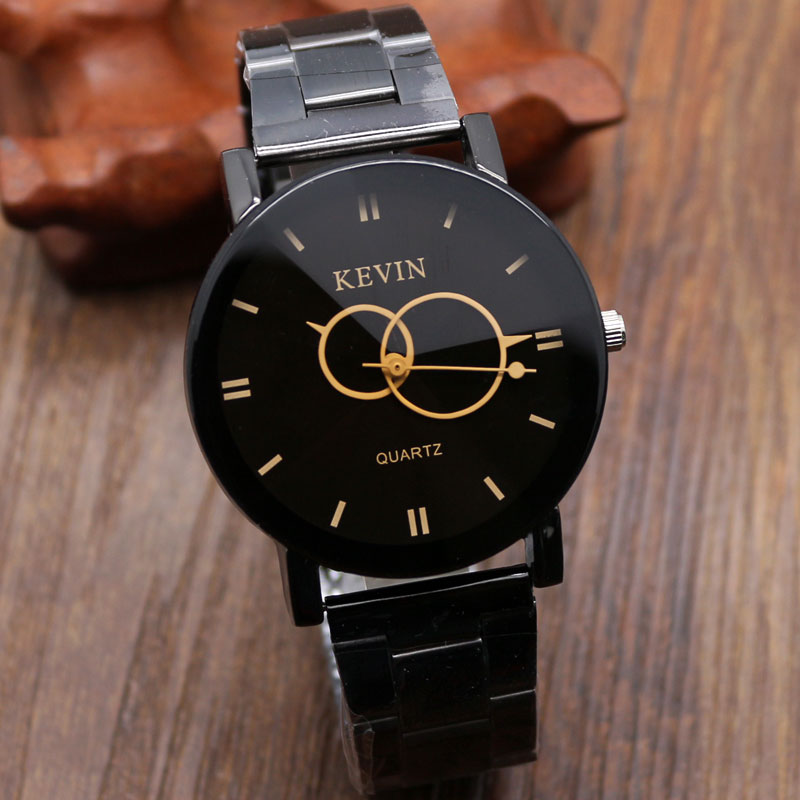 2017 Fashion Brown/Black Two Circles Full Stainless Steel Kevin Quartz Wrist Watch Men Women Watches Gift orologio da polso Hour2017 Fashion Brown/Black Two Circles Full Stainless Steel Kevin Quartz Wrist Watch Men Women Watches Gift orologio da polso Hour