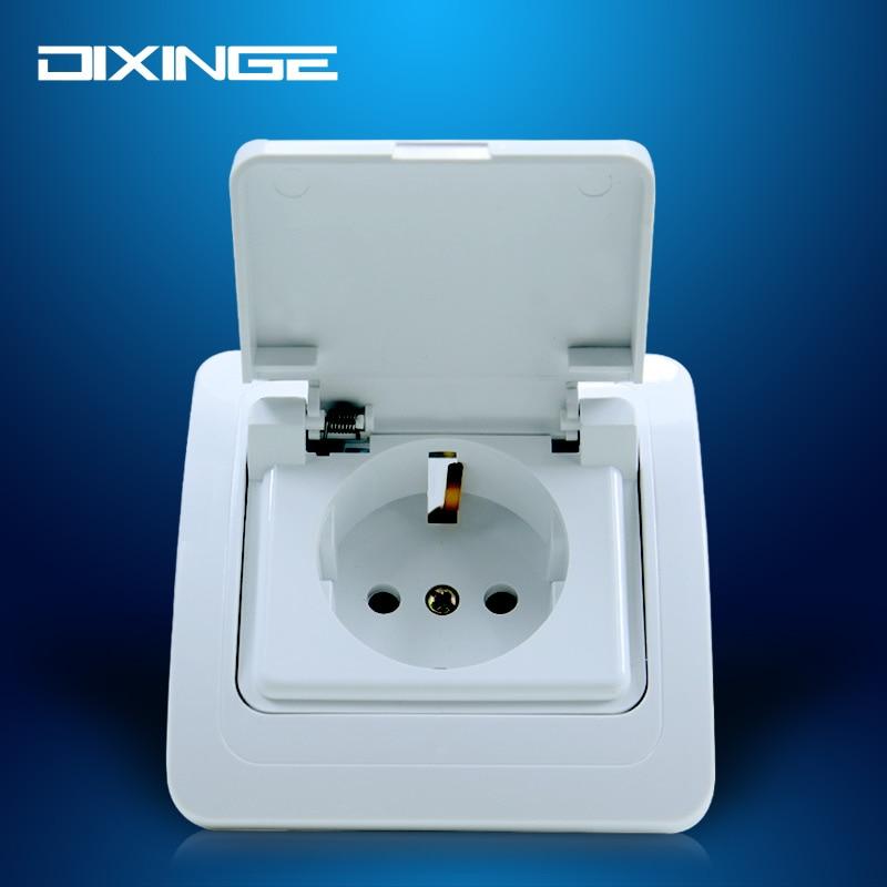 EU Regulations Standard Wall Power Outlet Splash Socket With Cover Waterproof OA810FC