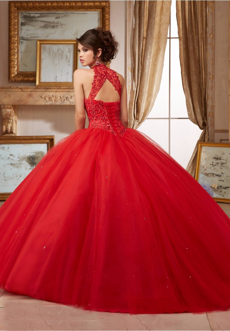 Red Wedding Dresses No Risk Shopping 2017 New Ball Gown High Collar Open Back Ribbon Applique Beaded In From Weddings Events
