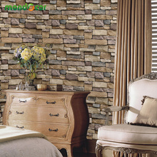 Vintage Rustic Stone Brick Wallpaper Roll PVC Vinyl Waterproof Wall Sticker Peel and Stick Wallcovering Decals Living Room Decor colored vintage velvet flocking damask wallpaper french renaissance decor wallcovering