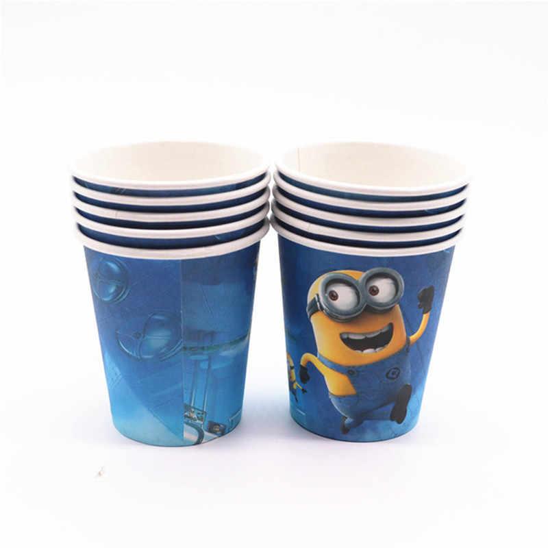 Minion Peralatan Makan Pesta Piring Serbet Kotak Permen Cangkir Taplak Meja Banner Balon Ulang Tahun Perlengkapan Dekorasi Pesta Anak-anak Bayi
