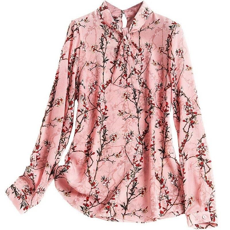 Camisa La De Flores Las Ropa Femininas Chic Pajarita Pradera Rosado Mujeres Shuchan Moda Blusas C949 Tops Estampado SxqYw1Bp