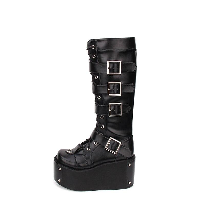 e684e1609 10 Cm Mujeres Chica Zapatos Lolita Botas Impresión Tacones Motocicleta  Negro Bombas Princesa Punky Mori Remaches Mujer ...